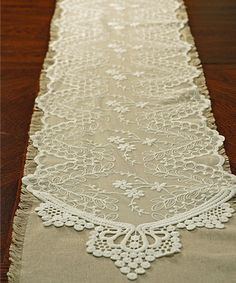 I ADORE THIS! Another great find on #zulily! White Embroidered Tulle Table Runner #zulilyfinds