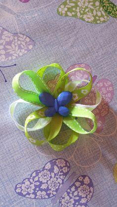 Ribbon flower...floricica panglica Ribbon Flower, Diy Crochet, Flowers, Handmade, Hand Made, Royal Icing Flowers, Flower, Florals, Floral