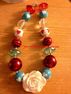 Dr suess hearts toddler chunky necklace by Jemmabeans on Etsy, $15.00