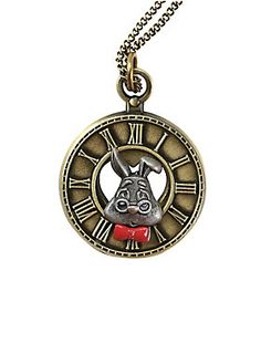 """<p>You won't feel like you're late when you're wearing this white rabbit clock face necklace to your very important dates. Just be careful, it doesn't actually tell time. You wouldn't want to miss an un-birthday party.</p>  <ul> <li>20"""" chain; 4"""" extender</li> <li>Alloy</li> <li>Imported</li> </ul>"""