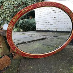 RESERVED K DAVIES Very Old Vintage Chinese Mirror - lovely reds and golds, all original.