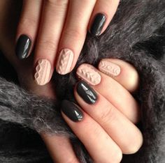 Textured Cable Knit Sweater Nails  #nails #nailart #naildesigns