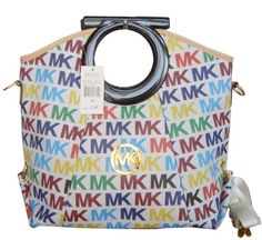 Berkley multicolor logo Michael Kors bag, with shoulder belt http://www.michaelkorsonlinewholesale.com/Michael-Kors-Berkley-Logo-Large-White-Multicolor-Clutches-p-2729.html