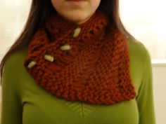 Buttoned Knit Cowl Pattern