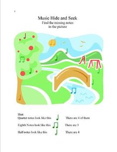 Music Worksheets for preschool to grade 2 (free)- good for a day with a sub.