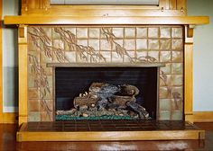 greene brothers tile fireplace