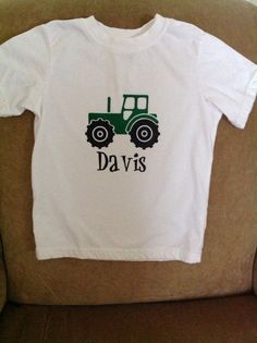 Children's personalized green tractor shirt by LulaFayesFunThings on Etsy