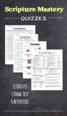 Really great scripture mastery quizzes!  They really help the kids understand the scriptures!