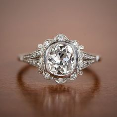 1.50ct Old Mine Diamond Handmade Platinum Mounting - Art Deco Style Engagement Ring