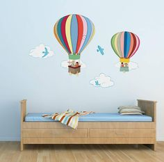 Belle and Boo Hot Air Balloons Wall Stickers Balloon Clouds, Balloon Wall, Hot Air Balloon, Balloons, Belle Y Boo, Eiffel Tower Wall Decal, Large Wall Stickers, Balloon Decorations, Room Decorations
