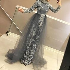Gray Muslim Evening Dress Long Sleeve Lace Detachable Train Scarf Islamic Dubai Kaftan Saudi Arabic Prom Dress vestidos de festa Source by storenvy hijab Muslim Evening Dresses, Hijab Evening Dress, Long Sleeve Evening Dresses, Muslim Dress, Trendy Dresses, Modest Dresses, Fashion Dresses, Prom Dresses, Hijab Prom Dress