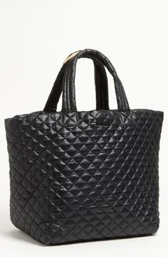 MZ Wallace Women's Large Metro Tote, Black, One Size. Quilted nylon. Height 13.75in / 35cm. Width 22.5in / 57cm. Depth 11.75in / 30cm.