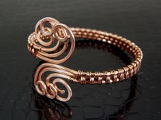 Wire Wrapped Copper & Hammered Copper Spiral Wire Weave Bracelet or Bangle