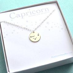 Gemini Constellation Medallion Zodiac Necklace Your by ShopSomethingBlue