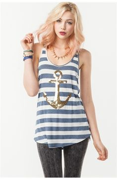 could save my shirts by giving them an anchor? What To Wear Today, How To Wear, Sweet Style, My Style, Vacation Style, Classy And Fabulous, Striped Tank, Spring Summer Fashion, Christy Smith