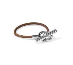 "Glenan Hermes leather bracelet (size XS) Natural bridle leather Palladium plated hardware, 2"" diameter, <6.7"" circumference."