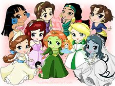 Chel (The Road to El Dorado), Kaylee (Quest For Camelot), Sephora (The Prince of Egypt), Marina (Sinbad), Anastasia (Anastasia), Clara (Drawn Together?), Crysta (Fern Gully), Fiona (Shrek), Thumbelina (Thumbelina), Odette (The Swan Princess), Emily (The Corpse Bride)