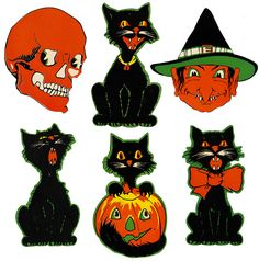 A splendidly fun selection of vintage Halloween die-cut decorations (love the four different black cats). #decorations #decor #die_cuts #Halloween #vintage #retro