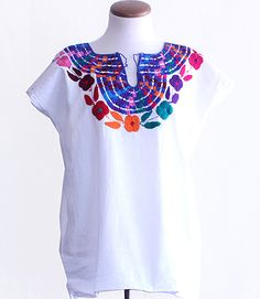 Cotton Chiapas Embroidered Blouses from Mexico