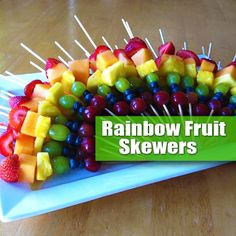 "Rainbow Fruit Skewers! Fun, Simple, Easy & Healthy. A great Project for Kids. No Cooking Involved & A Great Option for a Holiday or Party Fruit Platter: The idea of a ""Rainbow Fruit Kabob"" is simply to select fruit that matches the colors of the rainbow! Then slide the pieces onto skewers. Try to be consistent with placement so when you fan them out on a platter you get the ""Rainbow Effect""."