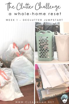 The Clutter Challenge – WEEK 1 – Declutter Jumpstart Ready for a whole home reset? This clutter challenge is is the ideal place to start. Declutter Your Home, Organizing Your Home, Home Organization, Organising, House Cleaning Tips, Cleaning Hacks, Speed Cleaning, Minimalism Living, Cleaning Challenge