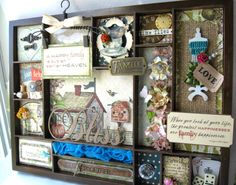 FAMILY Altered Printer's Tray Wall Hanging by WhimsyPics on Etsy
