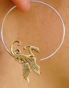 Phoenix Earrings  Bird Hoops  Brass and Sterling Silver by Zephyr9, $29.00