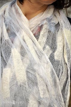 Nuno felt scarf by Sana Art, via Flickr. Love how it can utilize a sheer fabric and heavier wools
