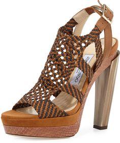 Jimmy Choo Taytum 130mm Braided Platform Sandal, Canyon Mix