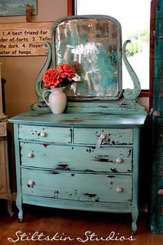 Stiltskin Studios: Aqua Cottage Dresser