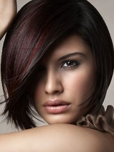 fun winter color - dark reddish brown with red highlights. Aileen I want this next when my hair grows a little longer.