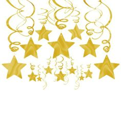 Gold Foil Star Hanging Decorations - Decorations - Other Party Supplies