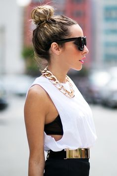 Love the cut off and the bun look