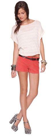 Soft Stripes Shirt, Baby Cord Cutoffs