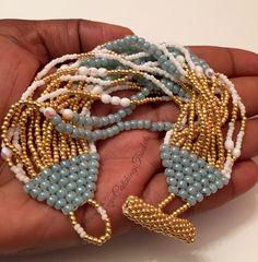 Blue and Gold beaded multi-strand bracelet - Eye Catching Trinkets