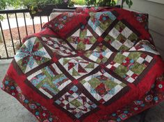This is a sampler quilt using 12 blocks