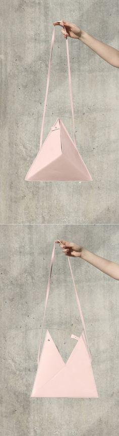 Triangle Bag by IF irinaflorea | minimalist | leather | rose quartz |