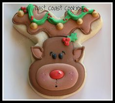 Adorable #Christmas #Rudolph #Cookie by East Coast Cookies.