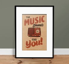 Music Sounds Better With You - Vintage Poster - Retro Art Print ^