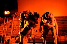Simpson and his mate, stretcher bearers but desperately short of manpower. 'There's got to be a better way than this!' in my play about John Simpson Kirkpatrick at Gallipoli.