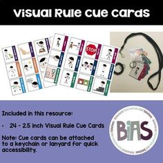 That is where these small visual rule cue cards come in handy. They are small enough to attach to a lanyard or bracelet keychain. That way these visuals can be accessible wherever and whenever you need them.