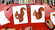 Learn how to draw a squirrel, plus how to color him with oil pastels. Follow along and draw your own...just for kids!