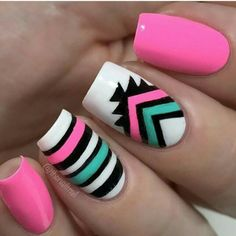 The same goes for the tribal nail designs. 13 New Tribal Nail Designs. Cute Nail Art, Cute Acrylic Nails, Pastel Nail, Pink Nail, Tribal Nails, Nagel Gel, Nail Decorations, Cute Nail Designs, Stripe Nail Designs