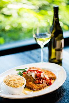 Dana's Parmesan-Crusted Chicken - Tomato Basil Relish, Lemon Butter, Betty's Potatoes, Garlic Green Beans