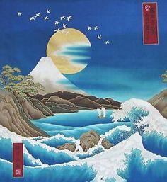 Japanese-Cotton-Fabric-Kona-Bay-Panel-Birds-Mt-Fuji-Gold-Moon-and-Waves-Aqua