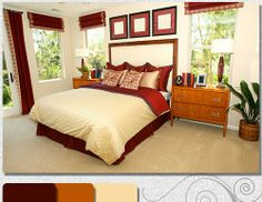 burgandy and gold bedroom pics | Creating the layered effect with darker reds, browns, and beige.