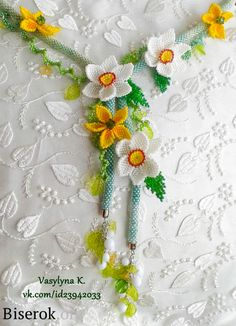 Daffodile picture tute   ~ Seed Bead Tutorials