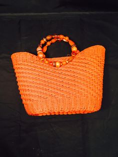 Vintage Cappelli Orange Crush Woven Straw Handbag Purse With Beaded Handle Summer Sizzle by missenpieces on Etsy