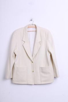 DAKS DO London Womens 16 2XL Blazer Top Suit Cream Wool Single Breasted - RetrospectClothes