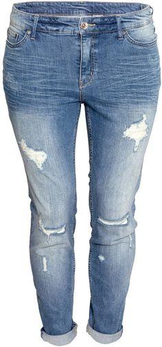 H&M - Super Skinny Low Ripped Jeans - Denim blue - Ladies https ...